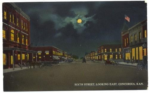Concordia Kansas Postcard Sixth Street East Vintage 1915 Street Scene