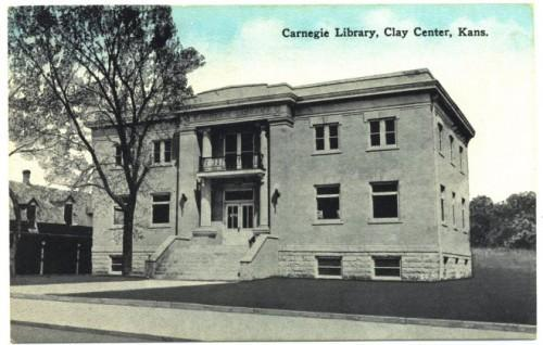Clay Center Kansas Vintage 1910s Postcard Carnegie Library