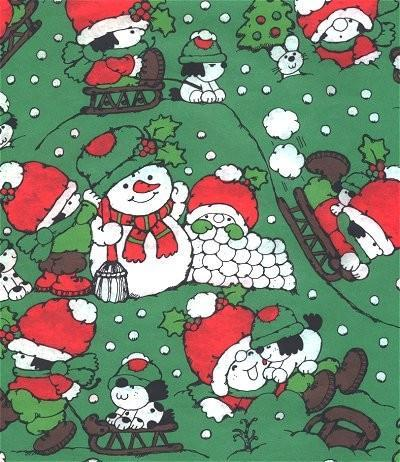 Vintage Christmas Wrapping Paper Snowmen Kids 1960s Gift Wrap