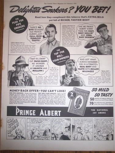 Prince Albert Vintage Magazine Print AD Tobacciana 1938