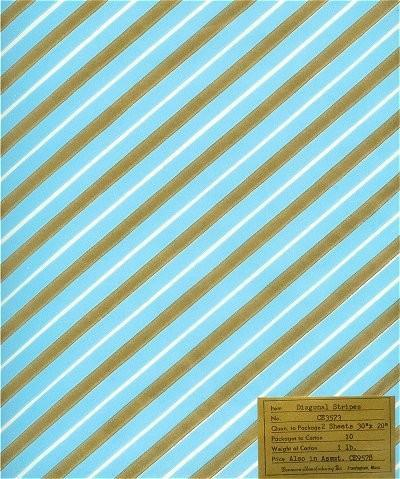 Vintage Dennison Wrapping Paper Blue Gold Stripes Scrapbooking
