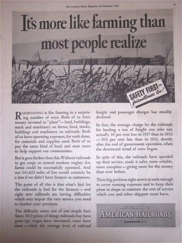 1938 Vintage Print AD American Railroads Safety