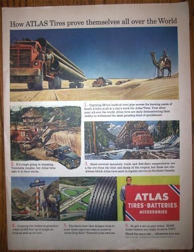 1950 ATLAS TIRES Logging Trucks Vintage Print AD Advertising