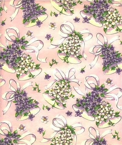 Wedding Wrapping Paper Bells Floral Vintage 1950s Pink Gift Wrap