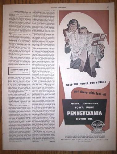 1950 Vintage Print AD Magazine Advertising Pennsylvania Motor Oil