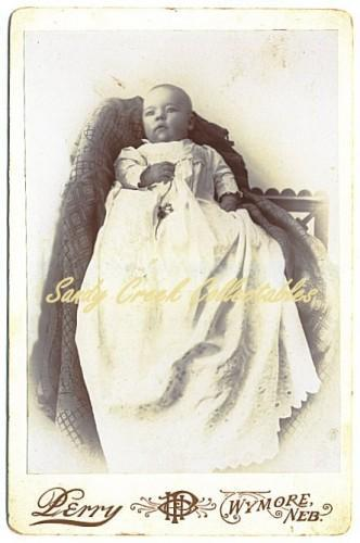 Antique Cabinet Photo Baby Christening Gown Victorian Wymore Nebraska