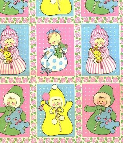 Vintage Wrapping Paper Baby Shower 1960s Gift Wrap Pink Blue Yellow