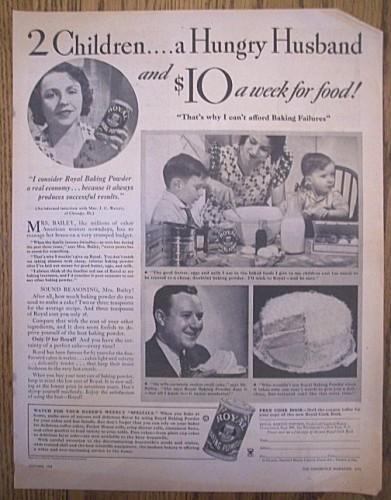 ROYAL BAKING POWDER Vintage 1934 Magazine Print AD Advertising