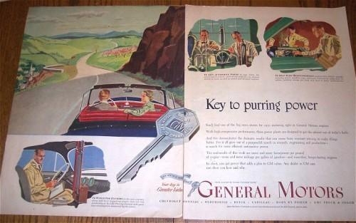 Vintage 1950 2 pg AD Advertising General Motors Car Automobile