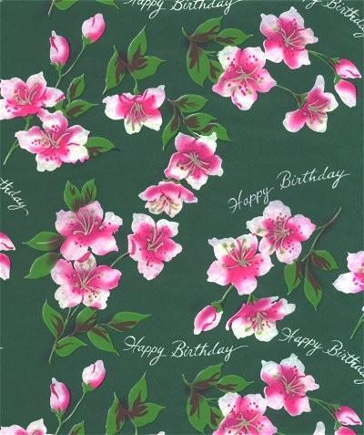 Happy Birthday Wrapping Paper Green Pink Rose Vintage 1960s Gift Wrap