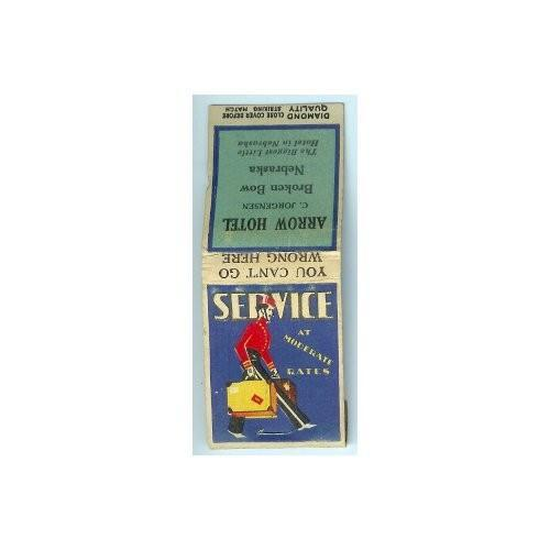 Vintage 1950s Matchbook Arrow Hotel Broken Bow Nebraska Bell Hop