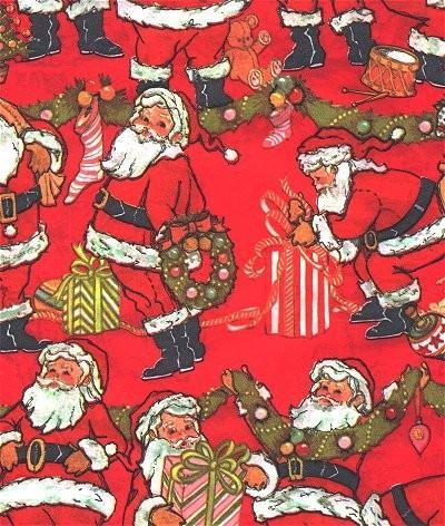 Santa Claus Christmas Wrapping Paper Red Vintage 1960s Gift Wrap