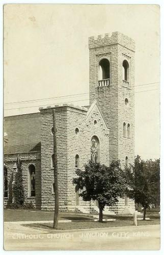 RPPC Junction City Kansas Catholic Church Real Photo Postcard AZO