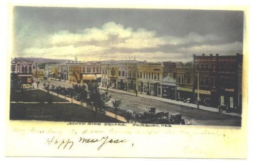 1910s Postcard South Side Square Fairbury Nebraska Buildings Town View