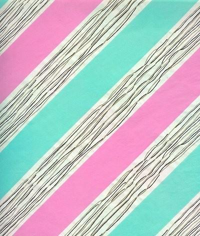Wrapping Paper Pink Green Stripe Scrapbooking Vintage 1950s Gift Wrap