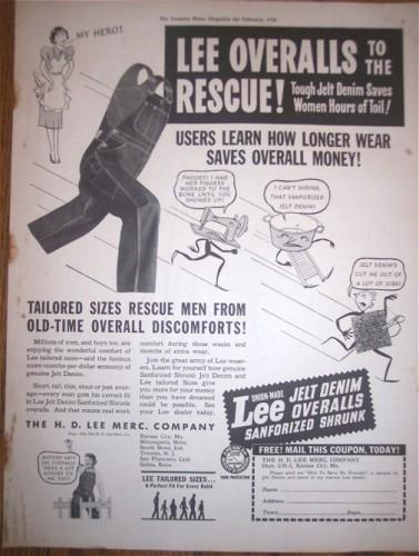 1930s LEE OVERALLS Mens Clothing Vintage Print AD Advertising