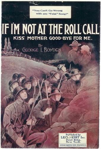 Vintage Sheet Music WWI If Not at the Roll Call 1910s