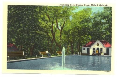 Postcard Milford Nebraska Swimming Pool Vintage PC Town View