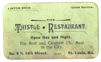 1890s Linton Brothers Business Card Thistle Restaurant St. Louis MO