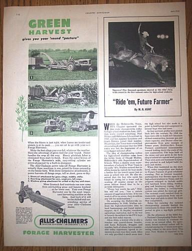 ALLIS-CHALMERS Farm Equipment Vintage 1950 AD