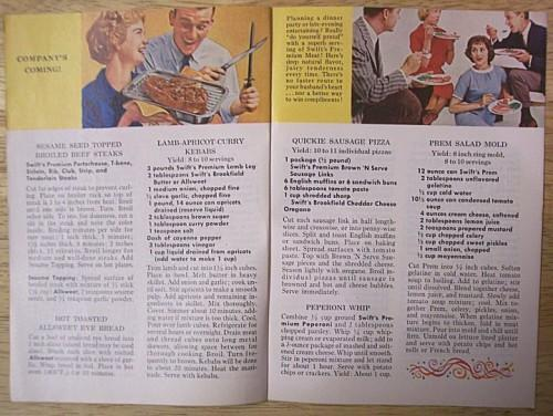 Vintage Cookbook 1960s Swifts Premium Booklet Party Recipe Ideas
