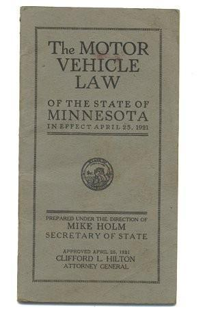 Minnesota Motor Vehicle 1921 Law Regulations Driving Book Vintage