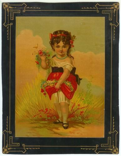 Antique Victorian Chromolithograph Print Girl Paper Framed 1888