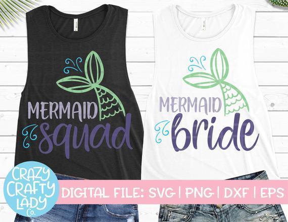 Mermaid Bachelorette Svg Bundle Wedding Cut By Customizedsvg On