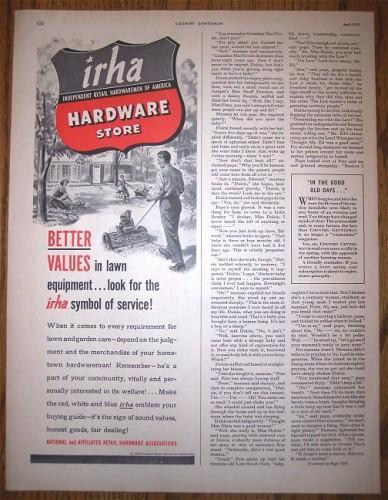 IRHA Ad Independent Retail Hardwaremen Vintage 1950 Advertising
