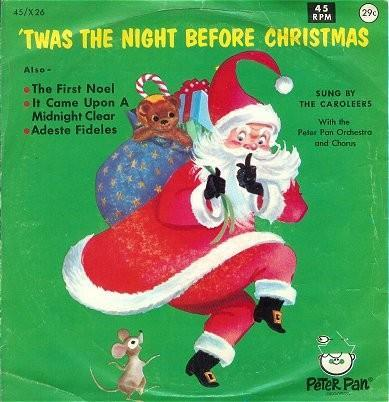 Vintage Kids 45 Record Twas the Night Before Christmas 1960s Peter Pan Records