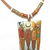 Vintage Cloisonne Pendant pictures friends out and about, wearing brown enamel