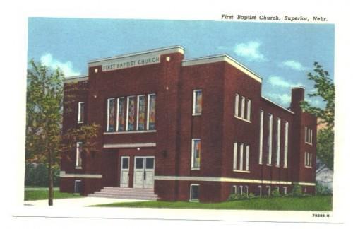 Superior Nebraska Postcard Baptist Church Vintage