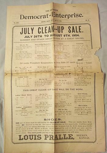 Hanover Kansas Newspaper Democrat Enterprise July 1904 History Vintage
