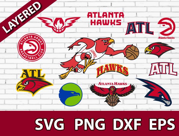 Atlanta Hawks digital file Logo Svg, Eps, Dxf, Png, budle svg for cricut, budle