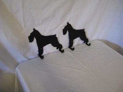 Schnauzer 2 Hook Leash Holder Metal Wall Art Dog Silhouette Set of 2