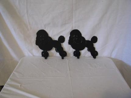 Miniature Poodle 2 Hook Leash Holder Metal Dog Art Wall Silhouette