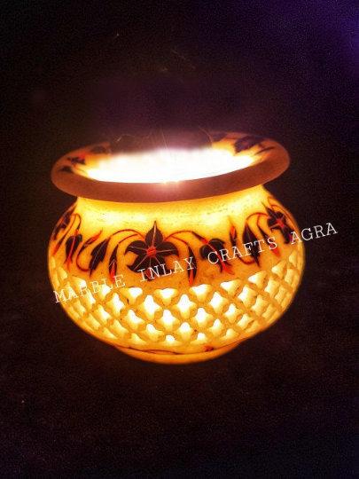 Marble inlay flower vase stone inlaid pot Pietra Dura collectible Art Home Decor