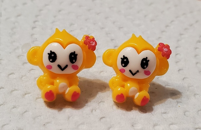 Yellow monkey earrings #00127