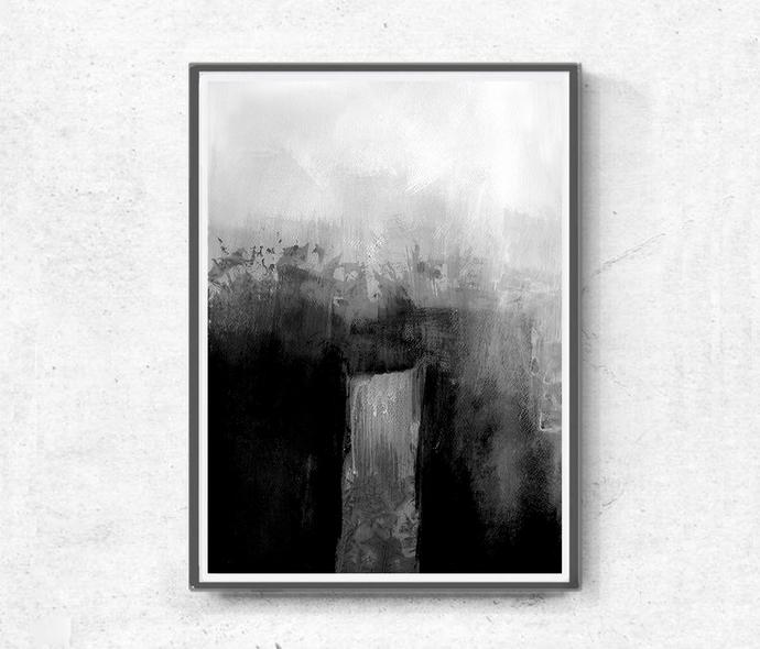 Set of 2 Prints, Abstract Art, Printable Print Set, Two Prints, Grey Wall Art,