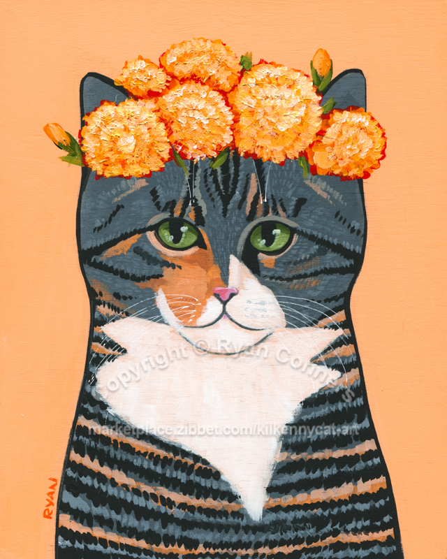 Willows Autumn Marigold Crown Original Whimsical Cat Folk Art Painting
