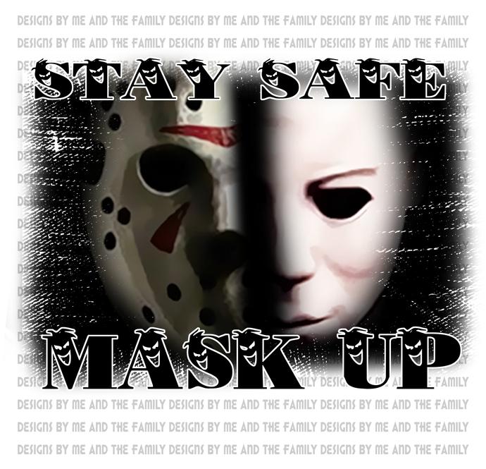 Stay safe mask up V1, retro 70s, vintage horror, Happy Halloween, Freddy, Jason,