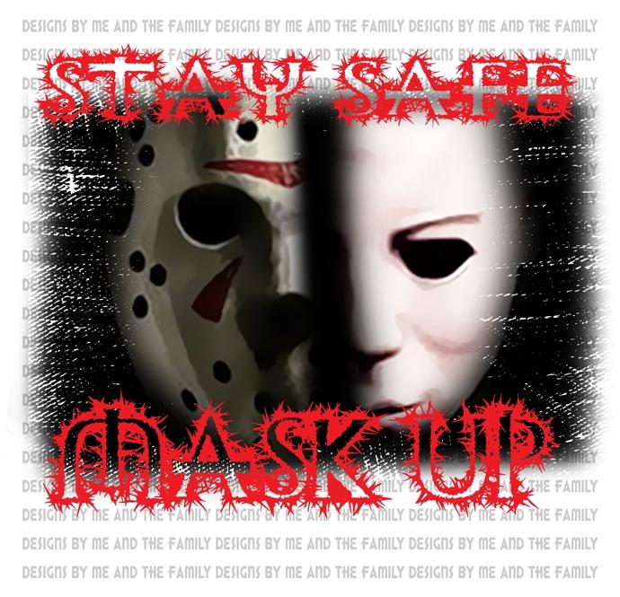 Stay safe mask up V3, retro 70s, vintage horror, Happy Halloween, Freddy, Jason,