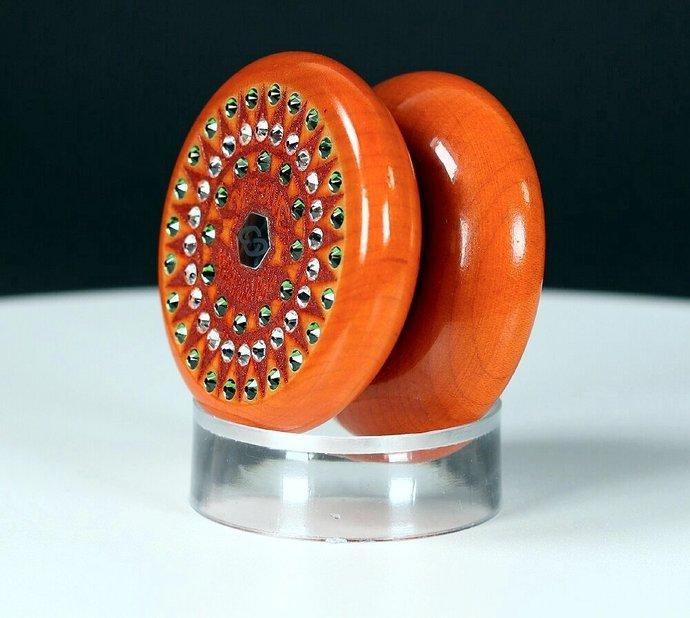 "Vintage Tom Kuhn Jeweled Orange No-Jive ""Sunburst"" Mandala Yo-Yo"