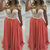 coral beaded prom dresses chiffon long sleeveless a line cheap amazing prom gown