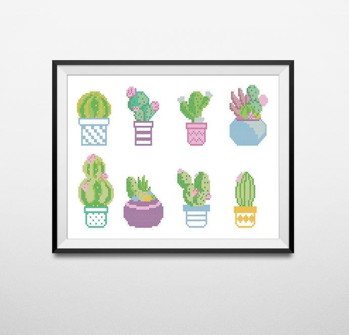 #175 Cactus succulents plant Floral nature Modern Cross Stitch Pattern, flower