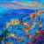 Santorini at Dusk, Original Oil Painting, by Rebecca Beal, Large gallery wrapped