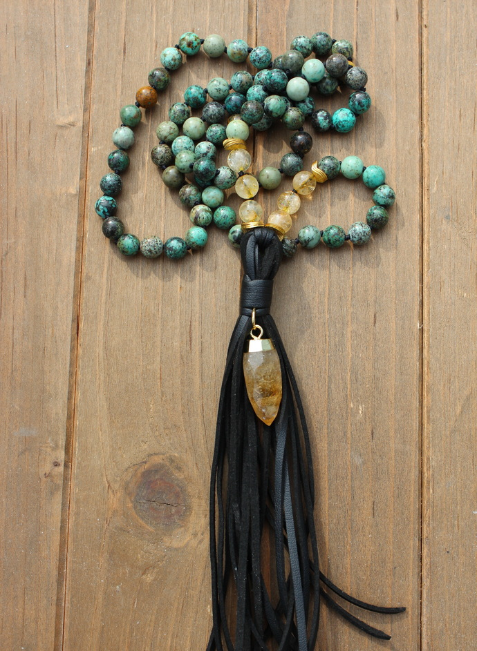 Turquoise Long Beaded Necklace, with tassel, Hand knot, Leather & Citrine