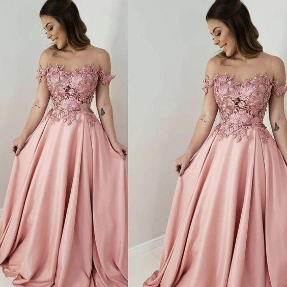 off the shoulder floral prom dresses long dusty pink satin lace elegant simple