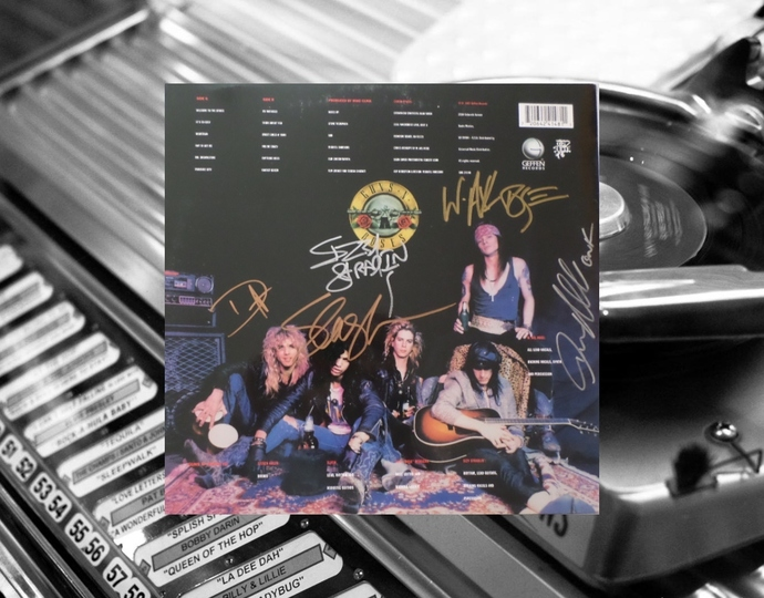 Axl Rose Duff McKagan Izzy stradlin slash  Steven Adler signed LP