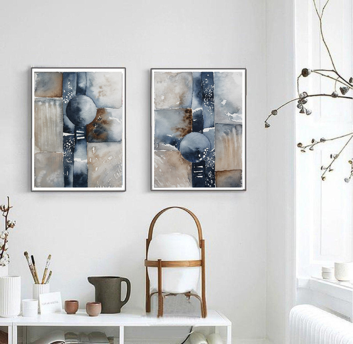 Set of 2, painting on paper, beige navy watercolor original , abstract painting